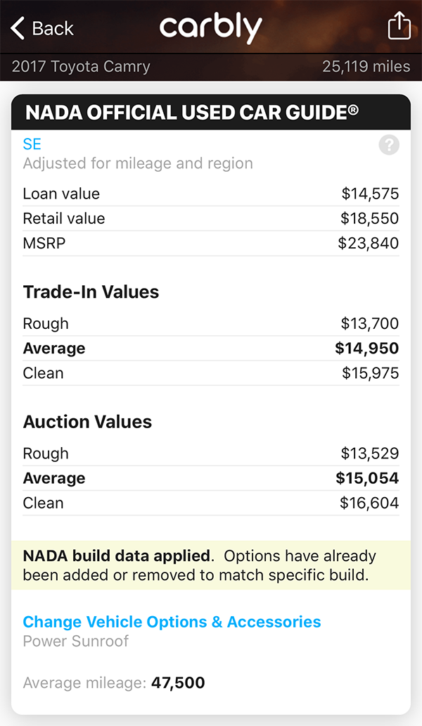 NADA Official Used Car Guide<sup>®</sup> in Carbly screenshot