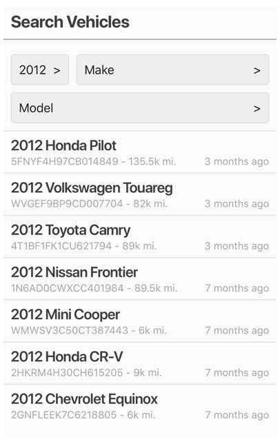 Search By Year, Make, Model